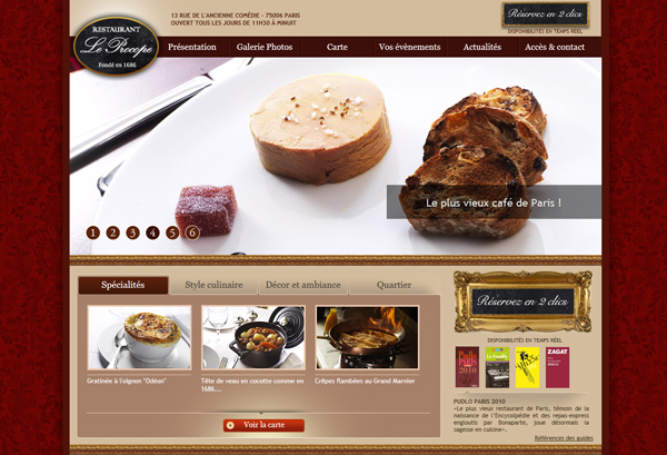 Ideas and website design for a restaurant web