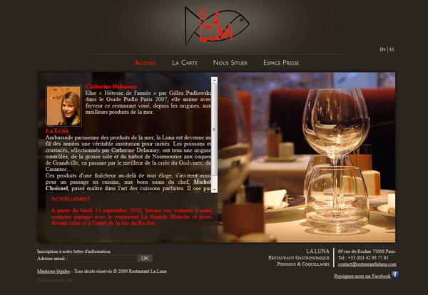 Ideas and website design for a restaurant. Restaurant web design.