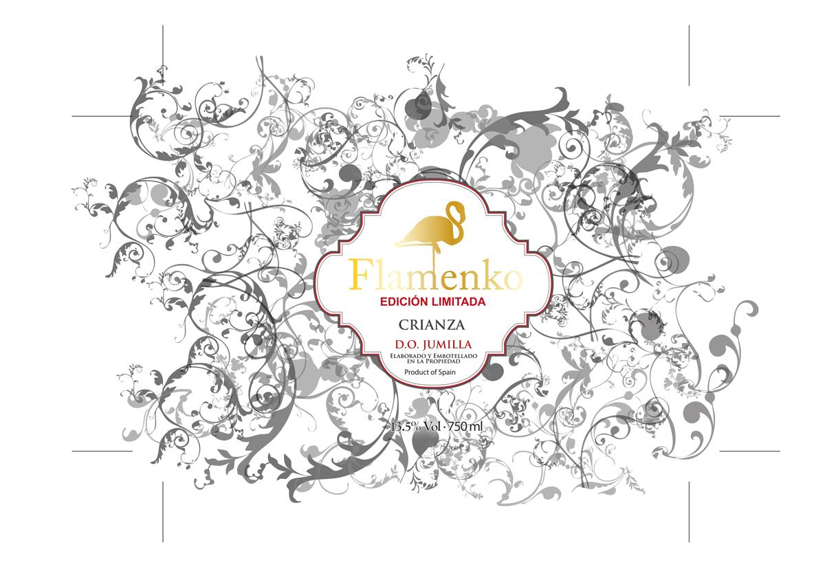 Diseño logo empresa bodega para sus etiquetas de vino FLAMENKO